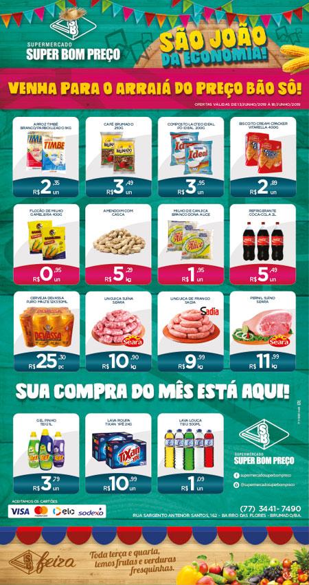 Confira as promoções no Arraiá de preços campeões no Supermercado Super Bom Preço