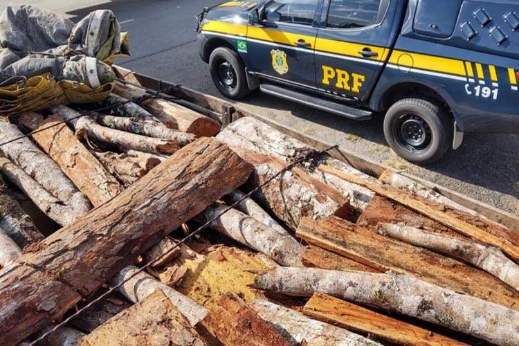 Carga com madeira nativa sem licença é apreendida em rodovia na cidade de Jequié