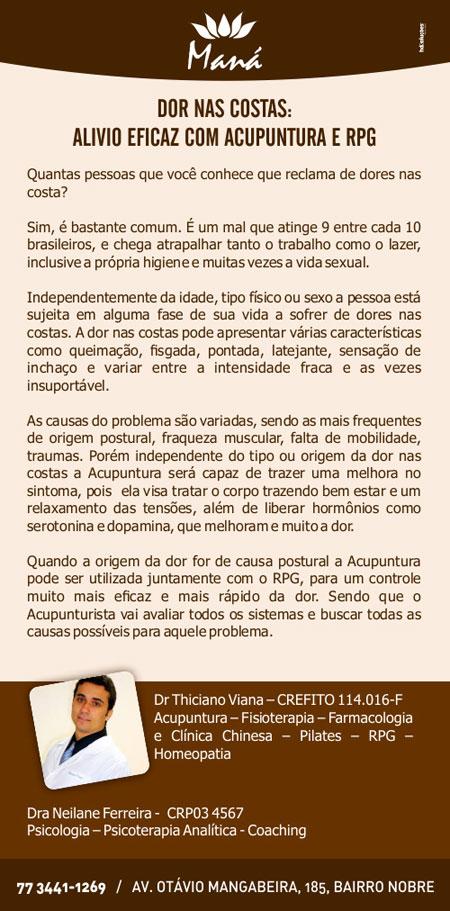 Dor nas costas: Alívio eficaz com acupuntura e RPG na Clínica Maná em Brumado