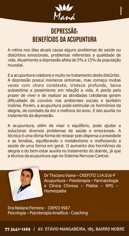 Depressão: Benefícios da acupuntura na Clínica Maná em Brumado
