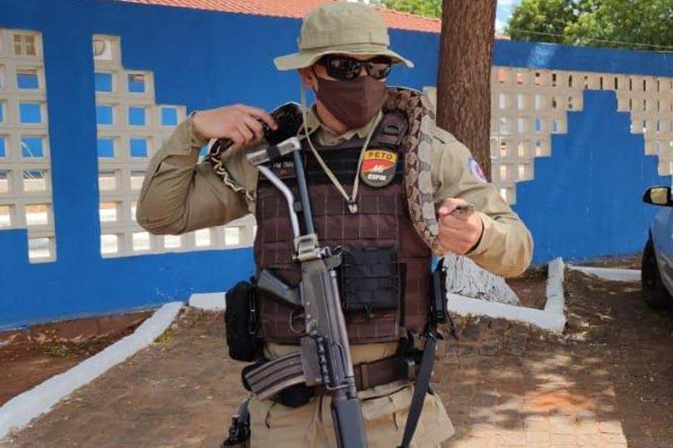 Livramento de Nossa Senhora: Policiais devolvem jibóia encontrada por populares à natureza