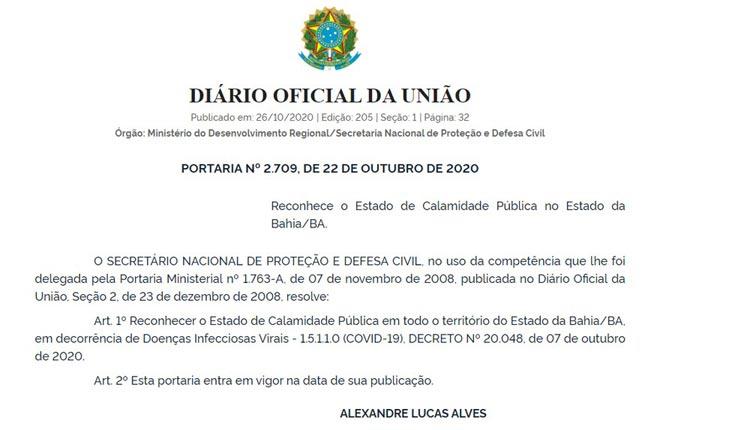 União reconhece decreto de calamidade pública da Bahia por causa da Covid-19