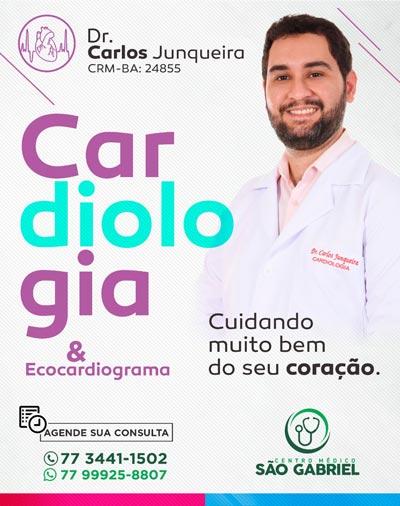 Cardiologia com o médico Carlos Junqueira no Centro Médico São Gabriel em Brumado