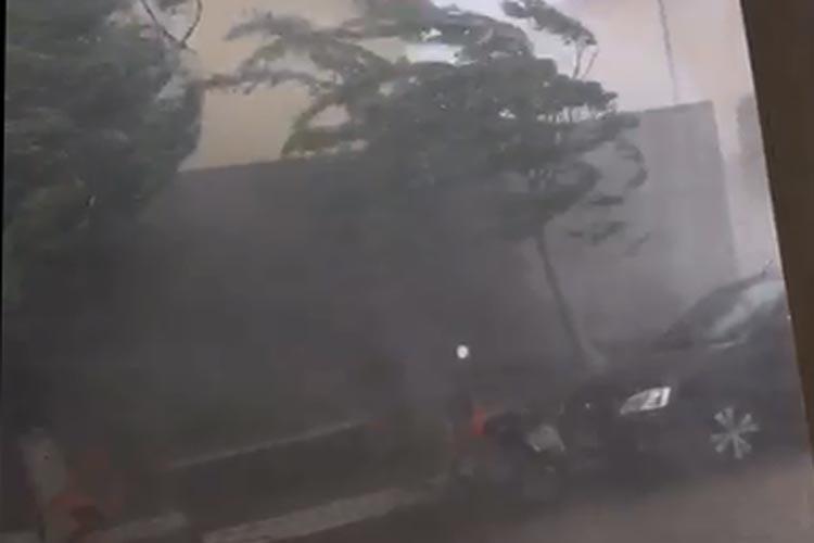 Livramento de Nossa Senhora tem chuva de granizo com ventos fortes e faz aeronaves desviar rotas