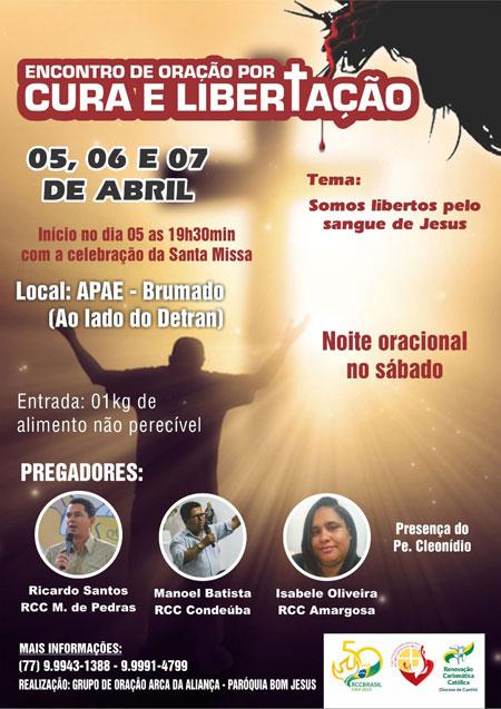 Renovação Carismática Católica de Brumado faz convite para Encontro de Oração por Cura e Libertação