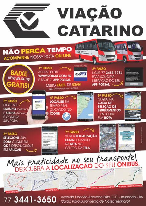 Brumado: Viação Catarino lança aplicativo para usuários acompanharem a rota dos ônibus em tempo real