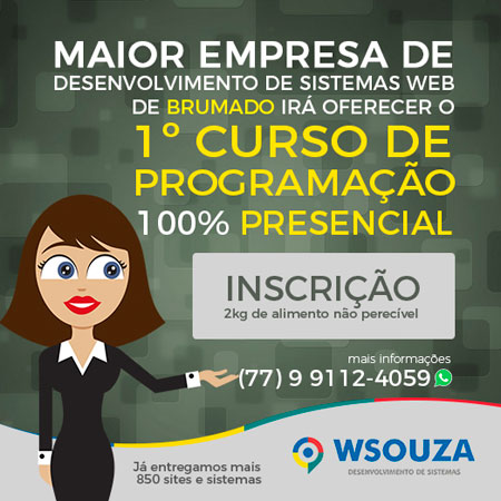 WSouza Sistemas oferece curso de programação 100% presencial em Brumado