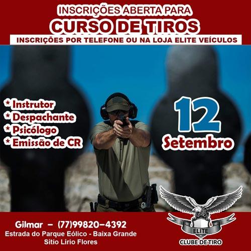 Curso de tiro será ministrado no dia 12 de setembro em Brumado