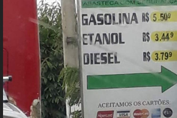 Gasolina é vendida a R$ 5,50 em Vitória da Conquista