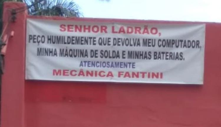 Após ser furtado, mecânico faz faixa com apelo a ladrão em Belo Horizonte
