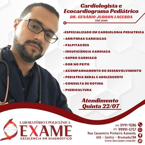Cardiologista infantil Judson Lacerda atende na Clínica Exame em Brumado