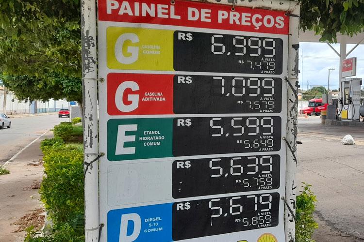 Gasolina começa a ser reajustada em Brumado; valor médio entre R$ 6,85 e R$ 6,99