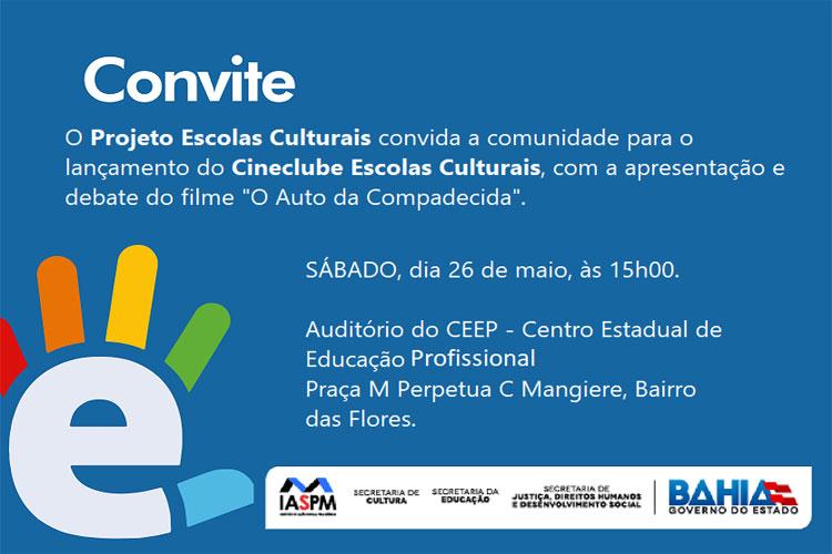 Projeto Escolas Culturais convida a comunidade para o lançamento do Cineclube em Brumado
