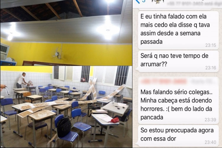 Parte do teto de uma sala de aula do CEEP desaba em Guanambi