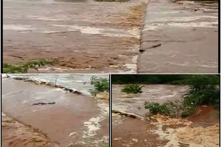 Com rio transbordando sobre ponte e estradas danificadas, comunidades ficam ilhadas em Brumado