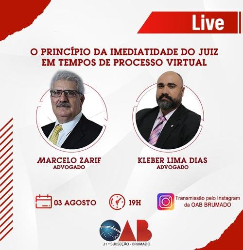 Presidente da OAB de Brumado participará de live com o advogado Marcelo Zarif