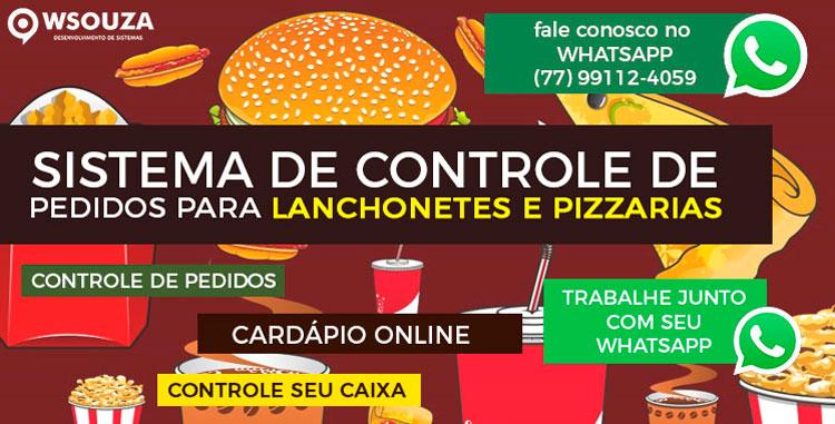 Wsouza dispõe de sistema de controle de pedidos para lanchonetes e pizzarias