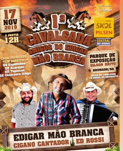 Cavalgada Amigos do Edigar Mão Branca será realizada no próximo domingo (17) em Brumado