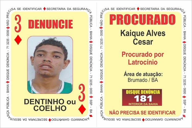 Bandido com atuação em Brumado e região é inserido no 'baralho do crime' da SSP-BA