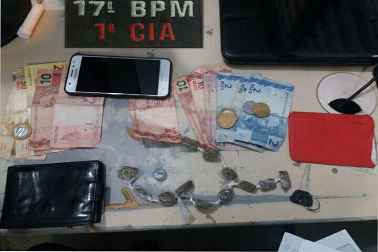 Guanambi: PM prende suspeitos com maconha e cocaína no Bairro Santo Antônio