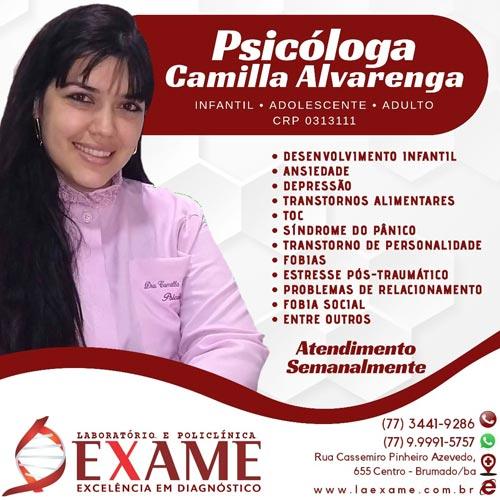 Brumado: Psicóloga Camilla Alvarenga atende crianças e adolescentes na Clínica Exame