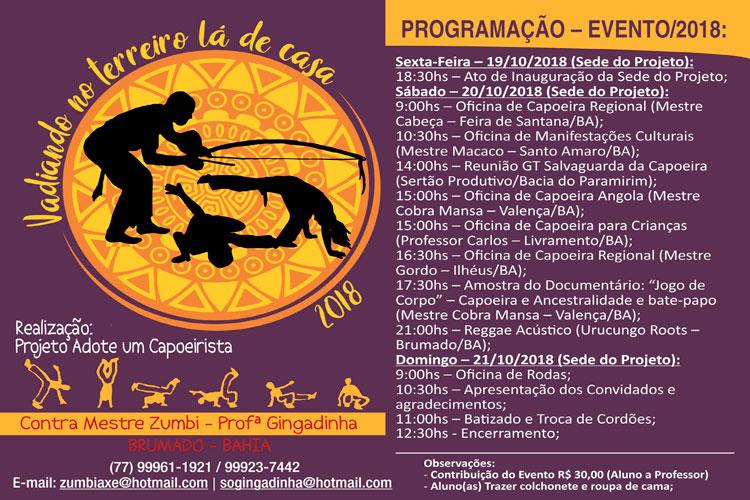 Projeto Adote um Capoeirista promove evento cultural durante o final de semana em Brumado