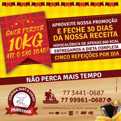 Perca até 10 kg com a dieta de São João na Praticook em Brumado