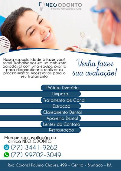 Neo Odonto trabalha com diagnóstico e tratamento dentário em Brumado