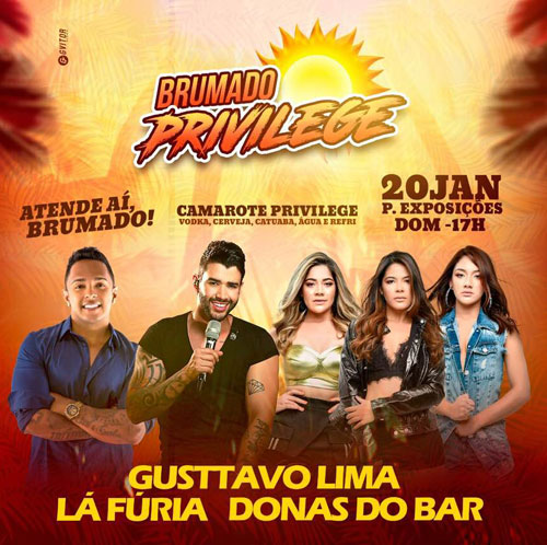 Brumado Privilege terá shows de Gusttavo Lima, Lá Fúria e Donas do Bar