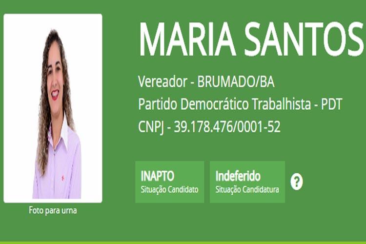 Eleições 2020: Candidata a vereadora Maria Santos tem candidatura indeferida em Brumado
