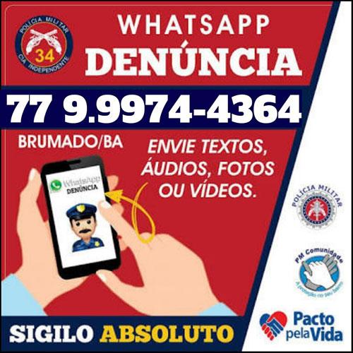 34ª CIPM: WhatsApp Denúncia auxilia o trabalho da polícia na prevenção e repressão de crimes