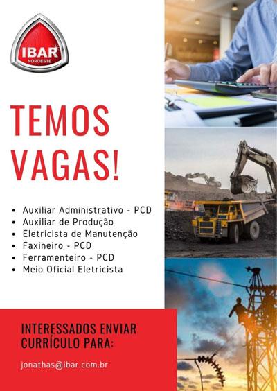 Ibar Nordeste oferece vagas de emprego na cidade de Brumado
