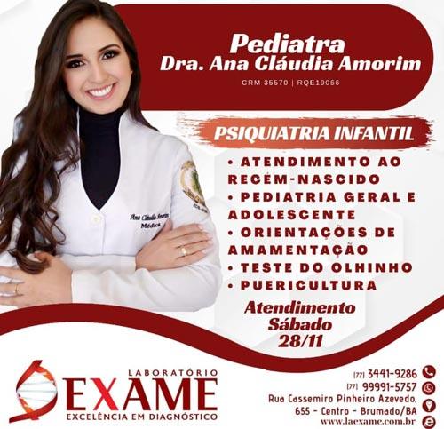 Brumado: Pediatra Ana Cláudia Amorim atende na Clínica Exame
