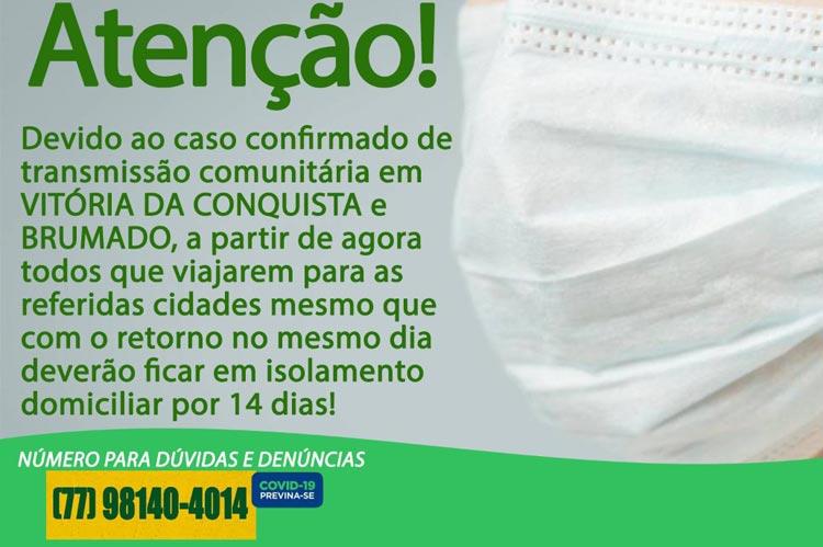 Prefeitura de Ituaçu impõe restrições para pessoas que viajarem para Brumado e Vitória da Conquista