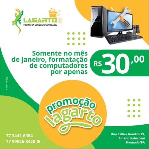 Brumado: Lagarto Informática lança promoção para formatação de computadores