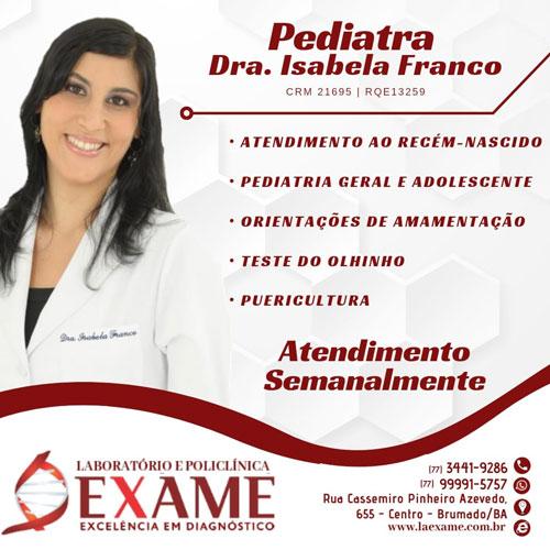 Brumado: Pediatra Isabela Franco integra o quadro de especialistas da Clínica Exame
