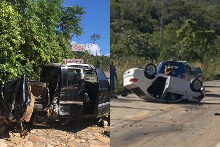 Rio de Contas: Motorista fica ferido após batida entre caminhonete e carro de passeio na BA-148