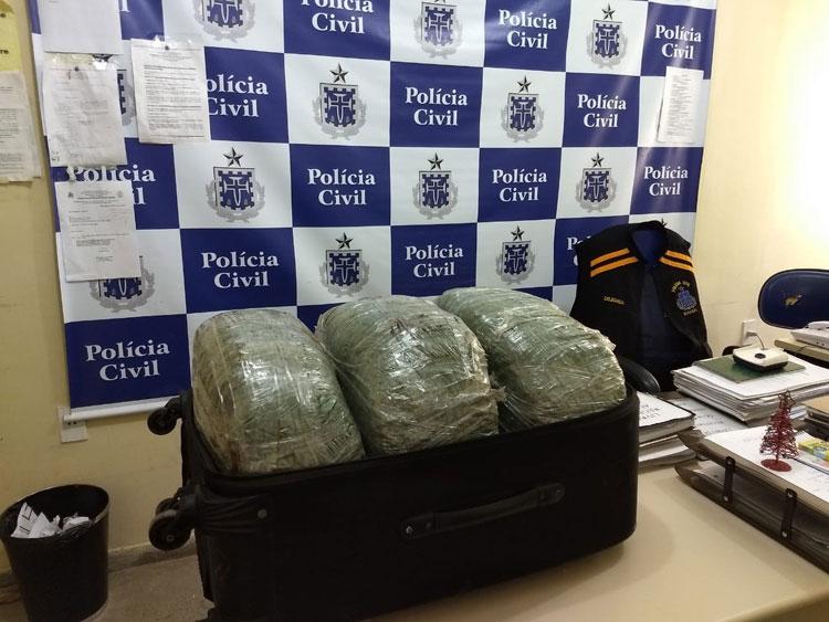 Jovem é preso levando sete malas com 200 kg de maconha no interior da Bahia